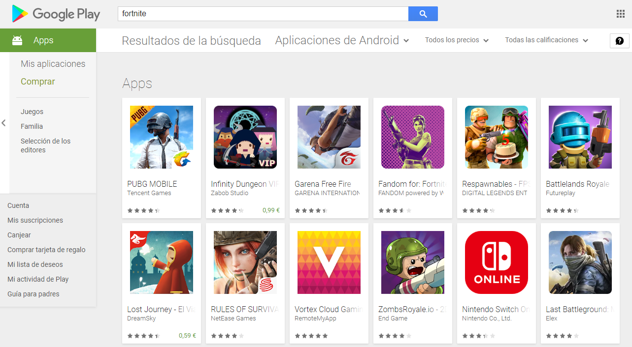 Fortnite in Google Play